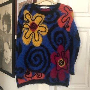 Limited 90's Mohair Sweater M/L Abstract Floral